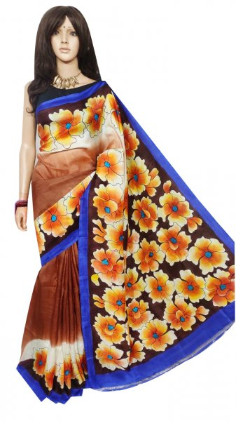 Blue, Maroon and yellow hand painted Bishnupuri  silk saree