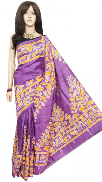 Purple and yellow hand painted Bishnupuri silk saree