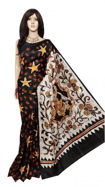 Black and White hand painted Bishnupuri silk saree
