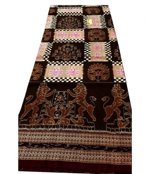 Black & Brown Sambalpuri Cotton Saree