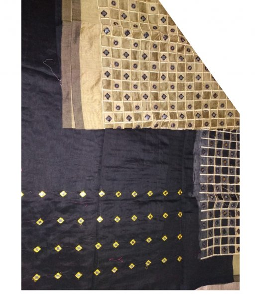 Black & Cream Cotton Silk Cut Work Saree