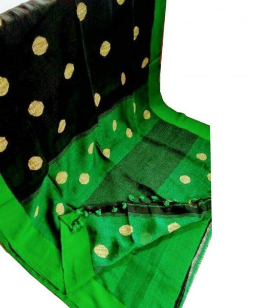Black & Green Buti Ball Linen Saree