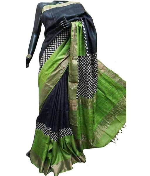 Black & Green Check Bishnupuri Silk Saree