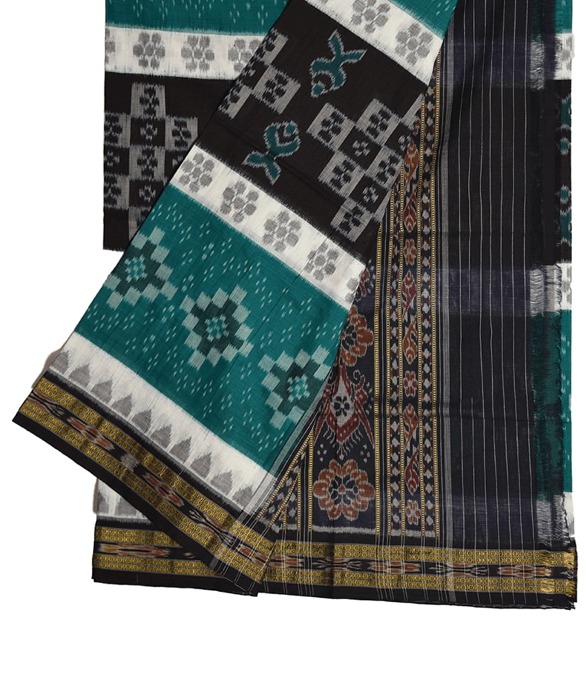 Black & Green Khandua Cotton Saree