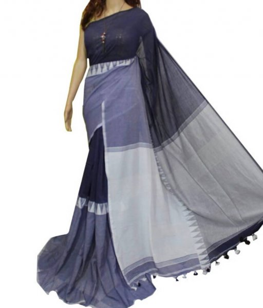 Black & Grey Madhyamoni Cotton Saree