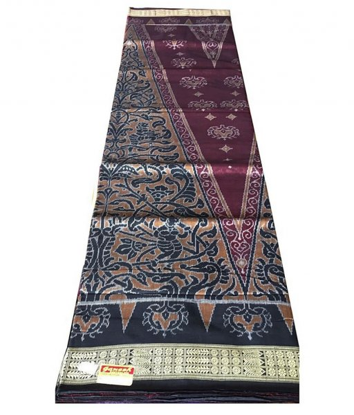 Black & Maroon Sambalpuri Cotton Saree