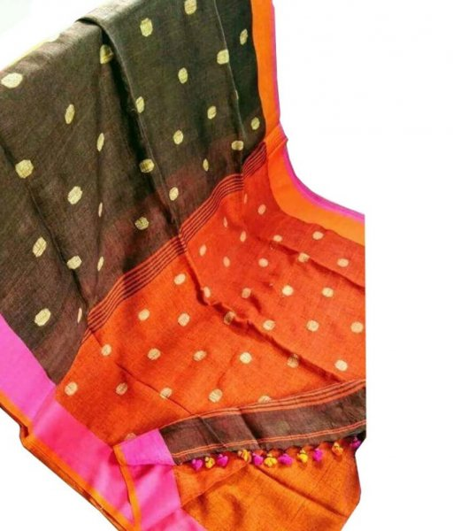 Black & Orange Buti Ball Linen Saree