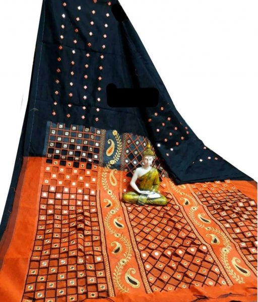 Black & Orange Cotton Silk Cut Work Saree