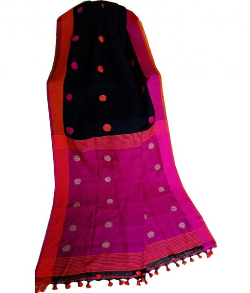 Black & Pink Buti Ball Linen Saree