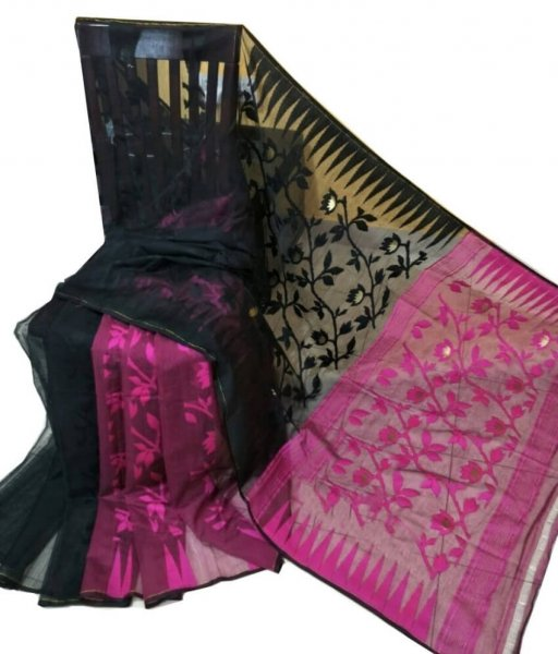 Black & Pink Jamdani Saree