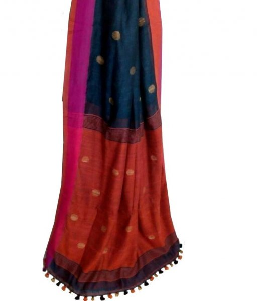 Black & Red Buti Ball Linen Saree