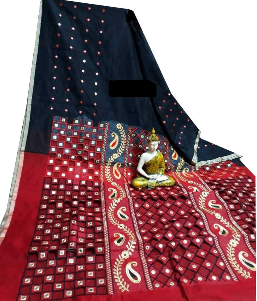 Black & Red Cotton Silk Cut Work Saree