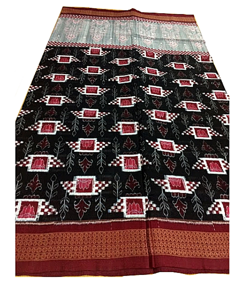 Black & Red Sambalpuri Cotton Saree