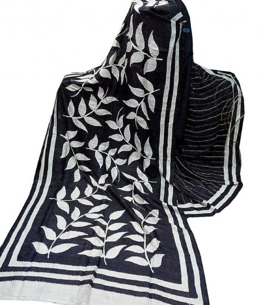 Black & White Bishnupuri Silk Saree