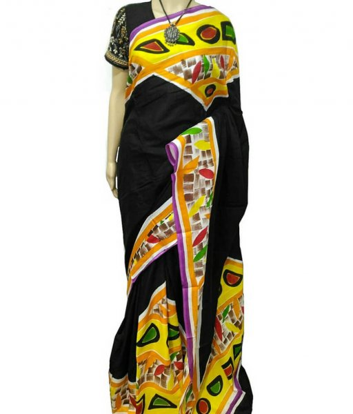 Black & Yellow Bishnupuri Silk Saree