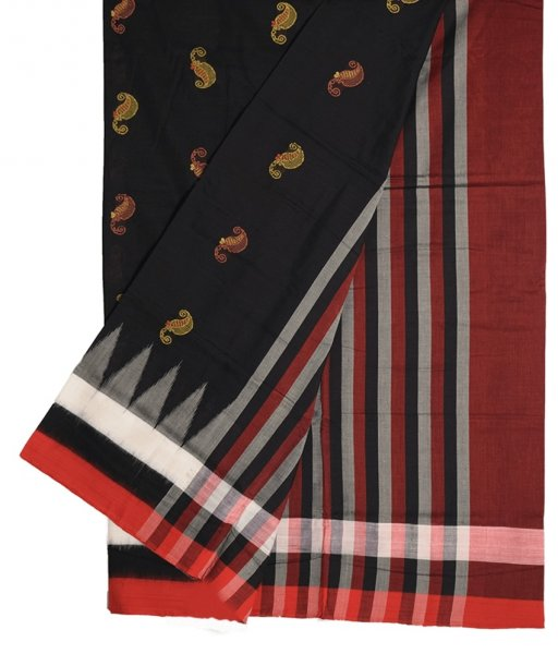 Black Bomkai Cotton Saree