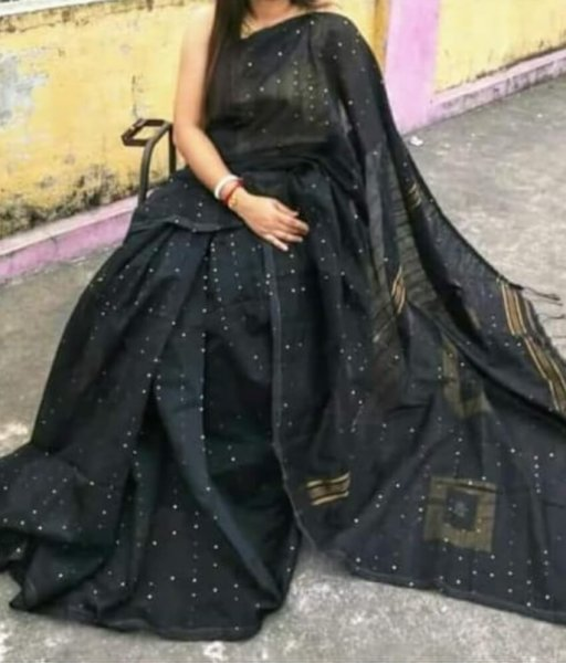 Black Handloom Sequence Saree