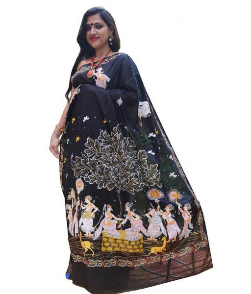 Black Pattachitra Hand Painted Saree