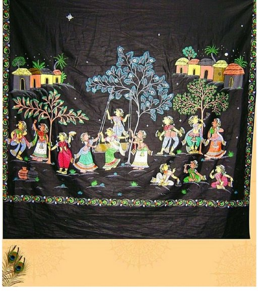 Black Pattachitra Saree