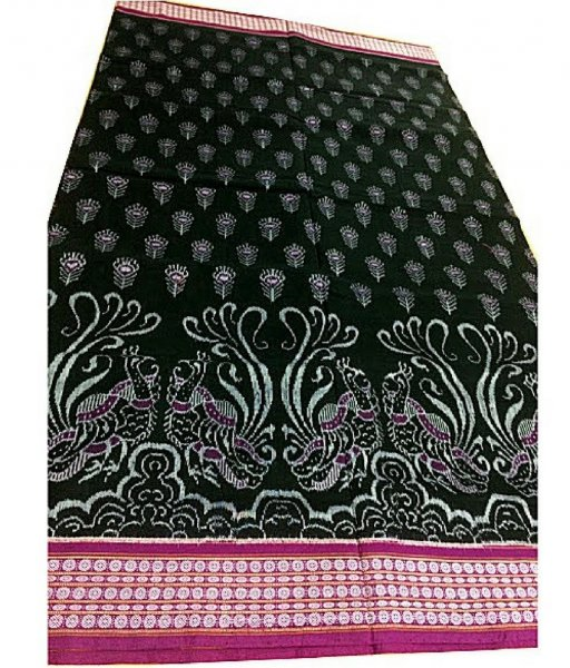 Black Peacock Sambalpuri Ikat Saree