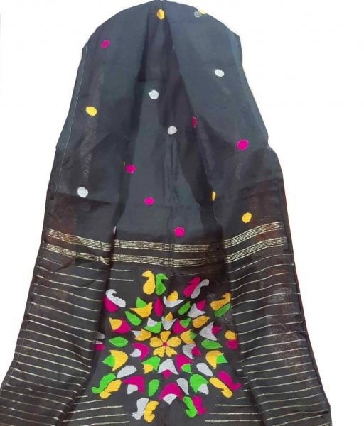 Black Resham Silk Saree