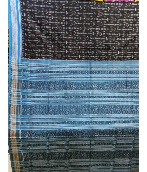 Black & Sky Sambalpuri Saree