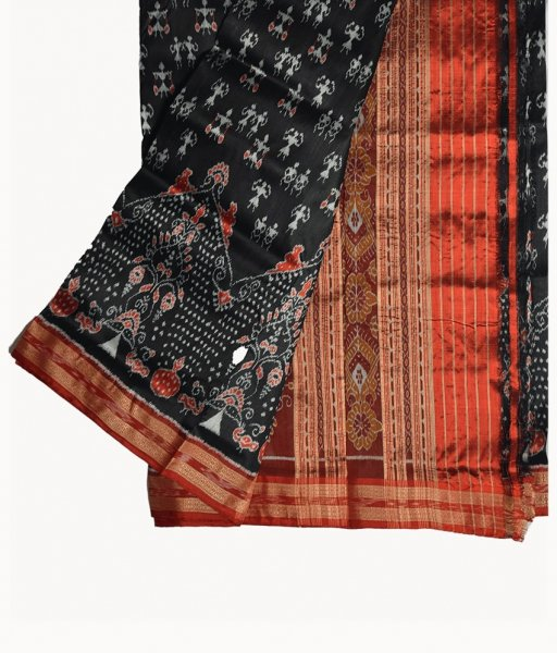 Black Tribal Khandua Silk Saree