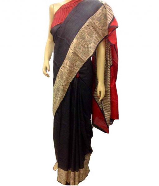 Black Zari Tussar Silk Saree