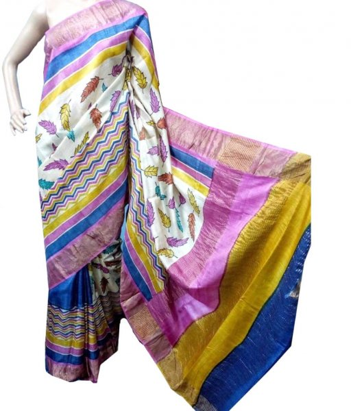 Block Printed Zari Tussar Silk Saree