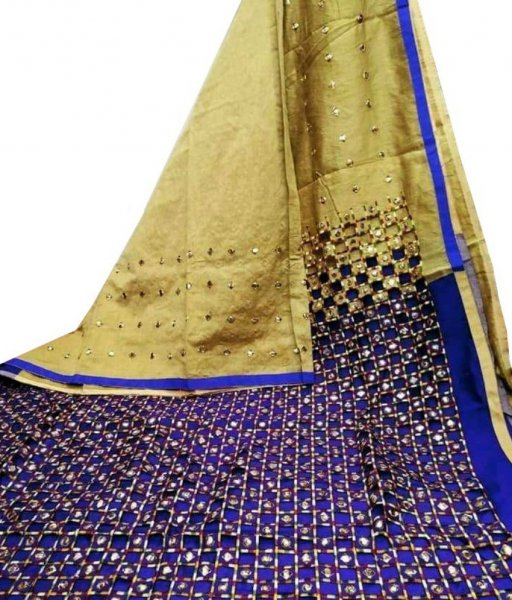 Cream & Blue Cotton Silk Cut Work Saree