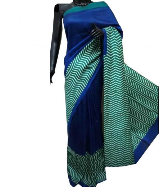 Blue & Green Bishnupuri Silk Saree