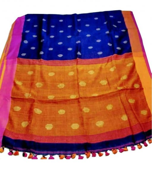 Blue & orange Buti Ball Linen Saree