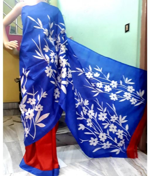 Blue & Red Bishnupuri Silk Saree