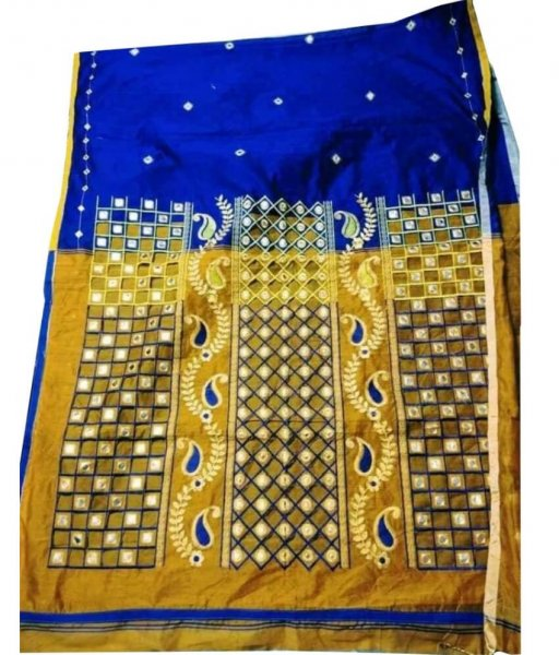 Blue & Yellow Cotton Silk Cut Work Saree