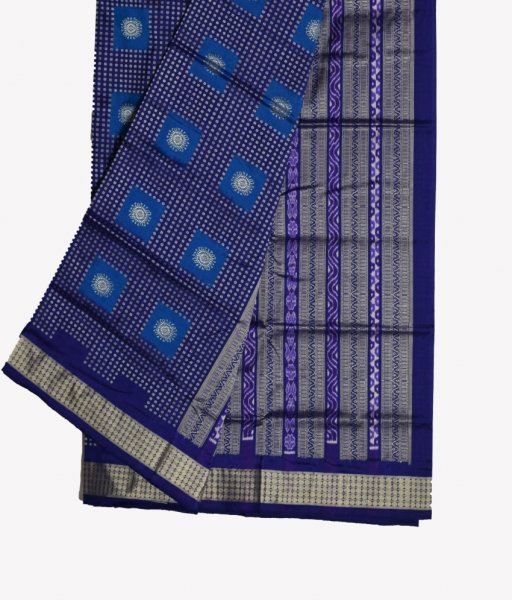 Blue Bomkai Silk Saree