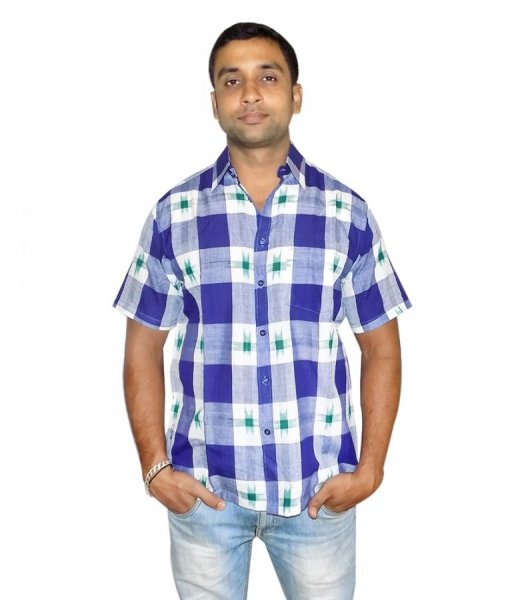 White Blue Checked Cotton Shirt