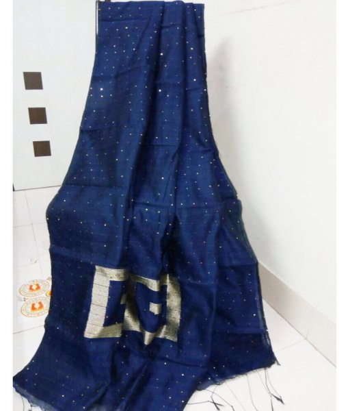 Blue Handlom Sequence Saree