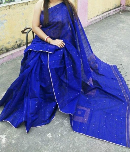 Blue Handloo Sequence Saree