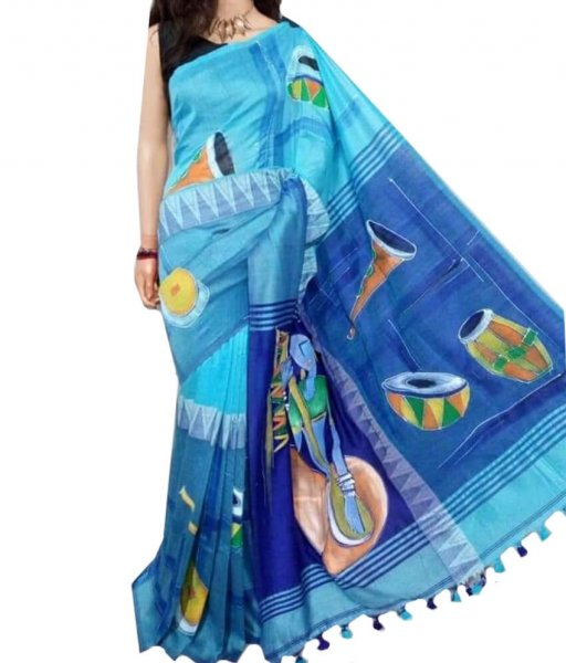 Blue Madhyamoni Cotton Saree