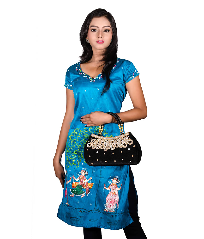 Blue Pattachitra Painting Kurti