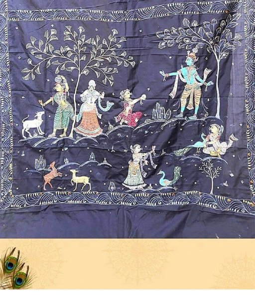 Blue Pattachitra Painting Saree