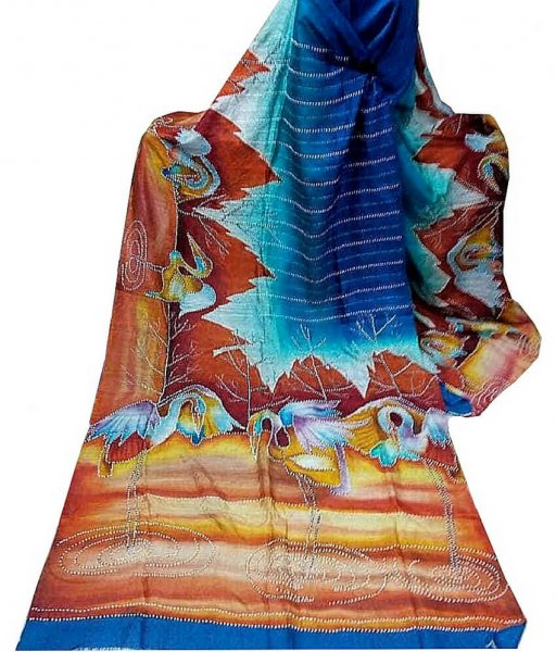 Blue Red Bishnupuri Silk Saree