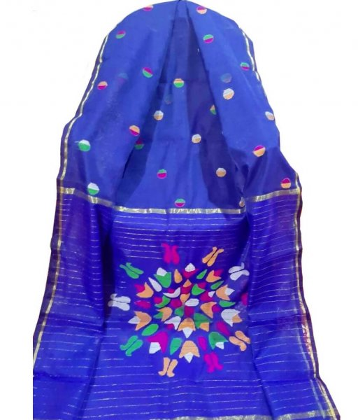 Blue Resham Silk Saree
