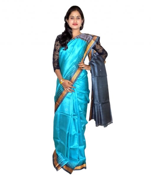 Sky Tussar Silk Saree
