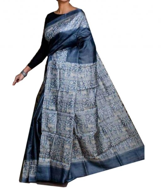 Blue Zari Tussar Silk Saree