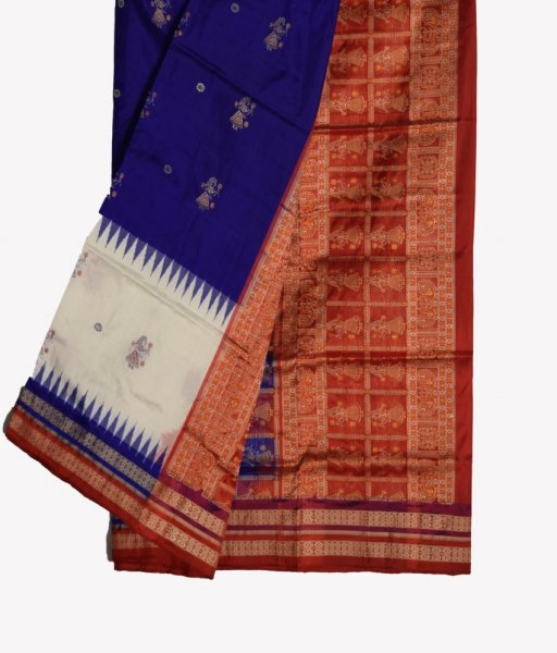 Body Bomkai Pittala Design Blue Silk Saree