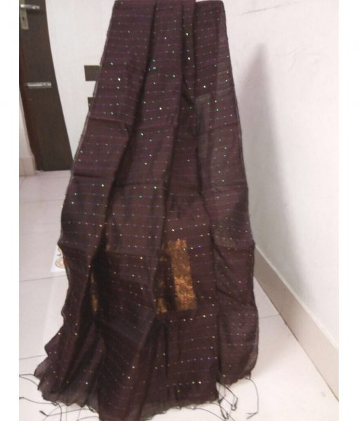 Brown Handloom Sequence Saree