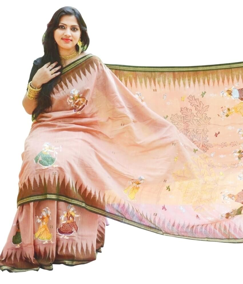Brown Pattachitra Saree