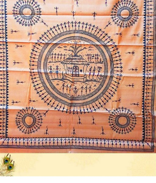 Brown Tribal Painting Saree