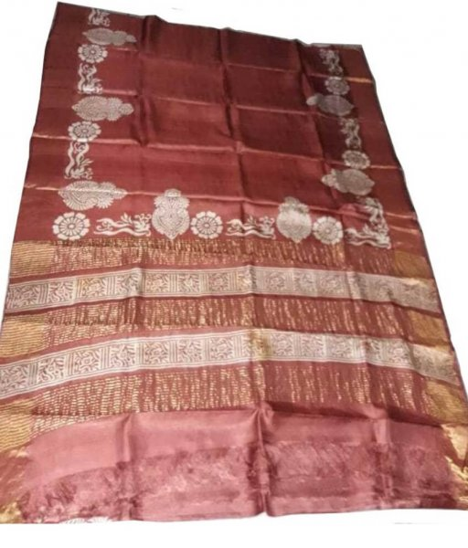 Brown Zari Tussar Silk Saree